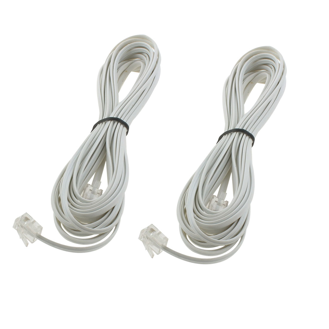 Unique Bargains 5M RJ11 6P2C Modular Telephone Modem Extension Line Cord Cable Wire 2pcs
