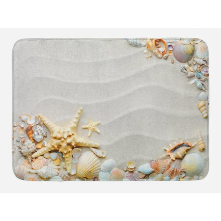 Starfish Bath Mat, Seacoast with Sand with Colorful Various Seashells Tropics Aquatic Wildlife Theme, Non-Slip Plush Mat Bathroom Kitchen Laundry Room Decor, 29.5 X 17.5 Inches, Multicolor, - Kitchen Theme Decor