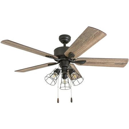 Prominence Home 50567-35 Aspen Pines Farmhouse 52-Inch Aged Bronze Indoor Ceiling Fan, Cage LED 3-Light Barnwood/Tumbleweed Blades Door Bronze Indoor Headliner