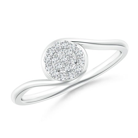 April Birthstone Ring - Round Halo Diamond Cluster Promise Ring in Platinum (1.2mm Diamond) - SR1705D-PT-GVS2-1.2-10.5