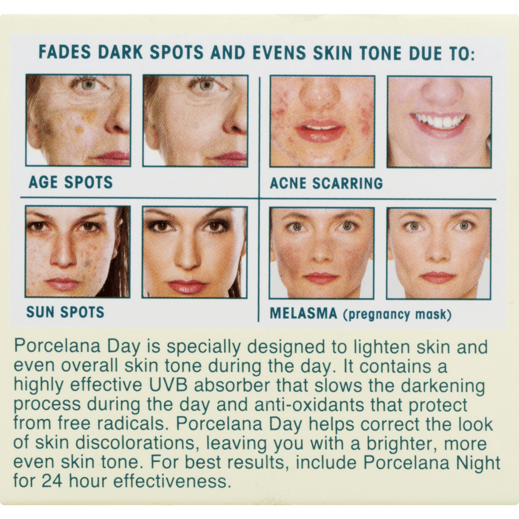 Porcelana Skin Lightening Day Cream and Fade Dark Spots Treatment 3