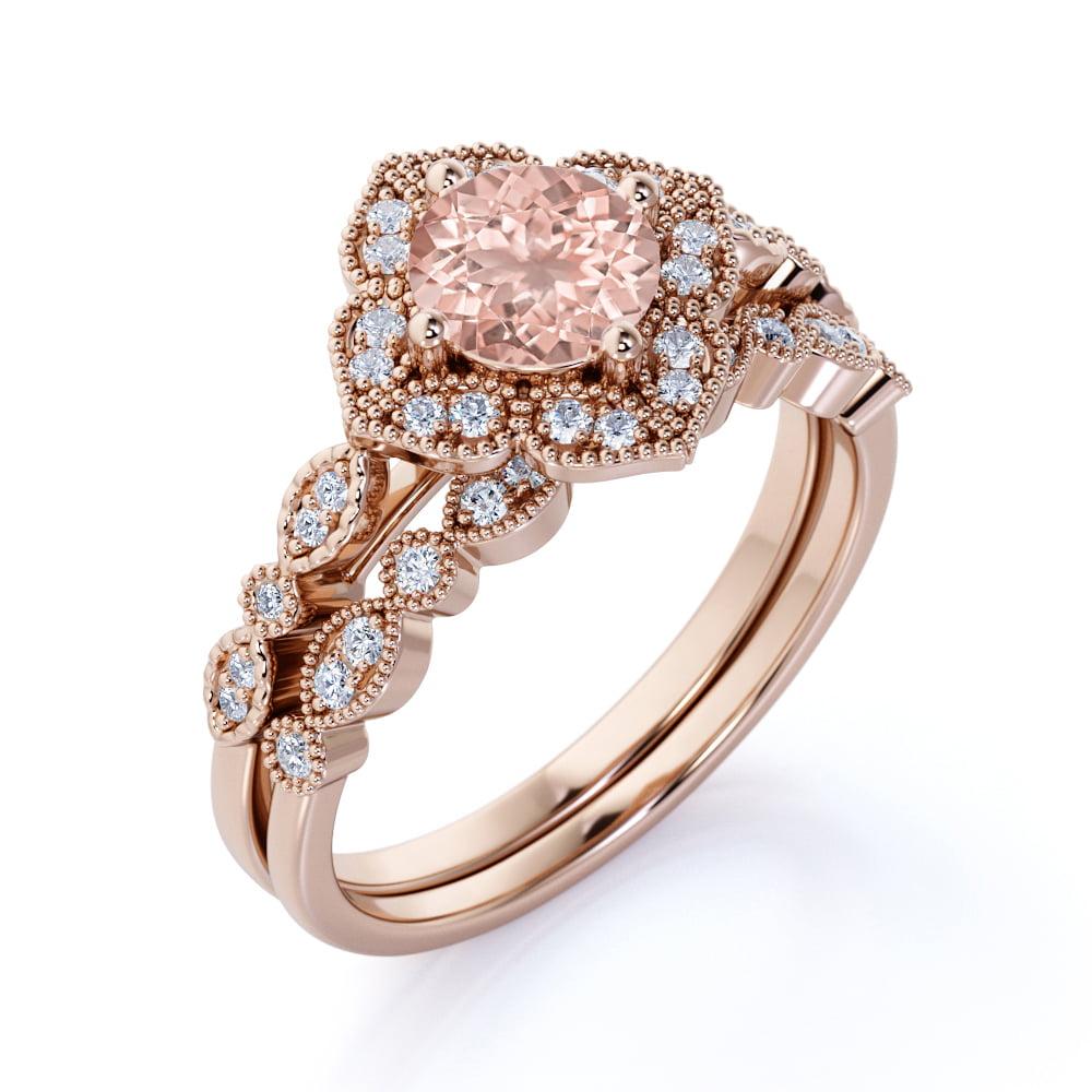 Jeenmata 1 50 Carat Round Cut Morganite And Diamond Halo Bridal Wedding Ring Set In Rose Gold Bestselling Design Under Dollar 500 Walmart Com Walmart Com