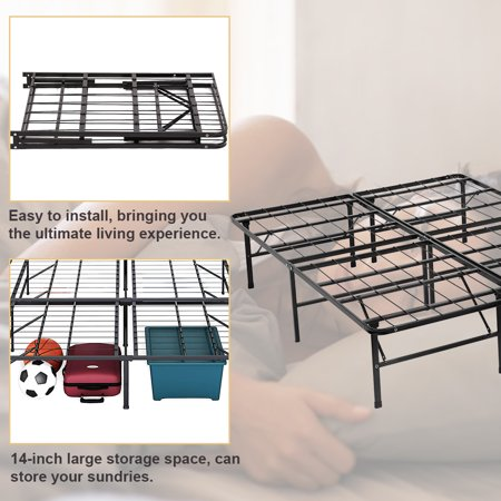 Bi-Fold King Folding Platform Metal Bed Frame Mattress Foundation