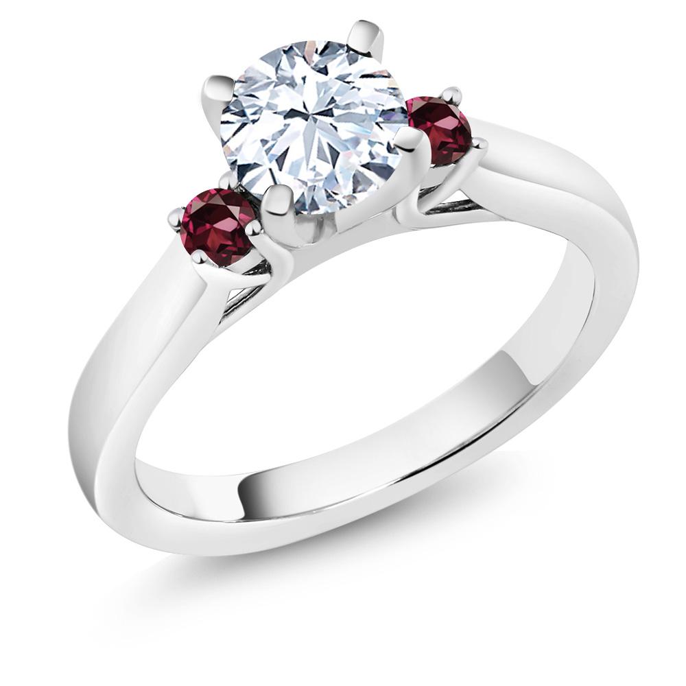 1.44 Ct White Created Sapphire Red Rhodolite Garnet 18K White Gold 3-Stone Ring