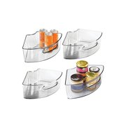 Deep Plastic Kitchen Cabinet Lazy Susan Storage Organizer Bin with Front Handle - Small Pie-Shaped 1/4 Wedge, 4' High Container - Holds Tea, Coffee, Dry Goods, Pastas - 4 Pack - Smoke Gray