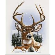 Great BIG Canvas | Rolled William Vanderdasson Poster Print entitled Whitetail Deer Montage, Winter