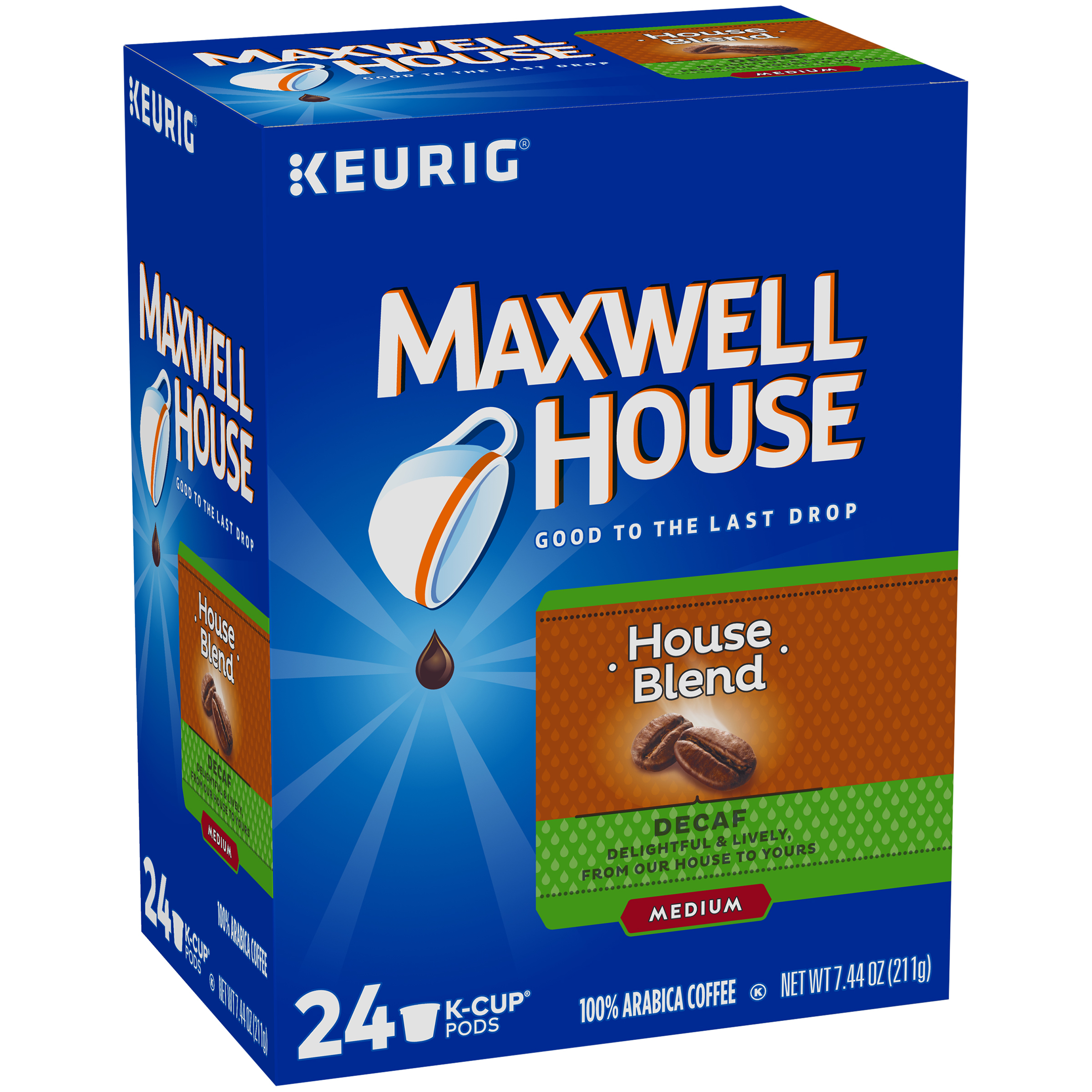 Maxwell House House Blend Decaf Coffee K-Cup Pods 24 ct Box