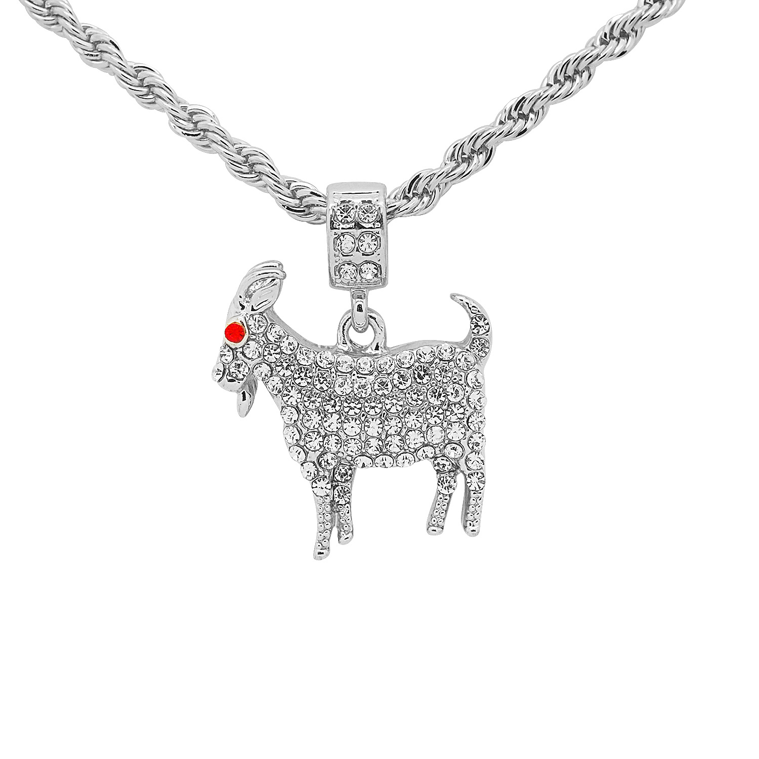 White Gold-Tone Hip Hop Bling Simulated Crystal Teddy Bear Pendant with 16 Tennis Chain and 24 Rope Chain