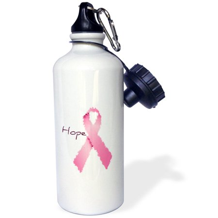 3dRose Painted Pink Ribbon Hope- Art- Breast Cancer Awareness, Sports Water Bottle, 21oz
