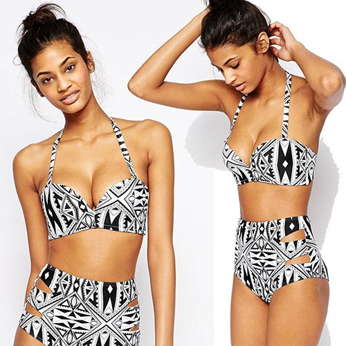 Sexy Summer Geometric Print Bikini Two Pieces High Rise Swimsuit Bathing Suit (Asian Size)