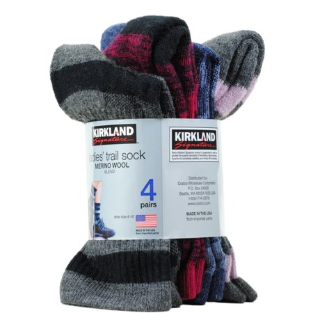 9bc8d19fef Kirkland Signature - Kirkland Ladies' Trail Socks Pack of 4 Merino Wool  Shoe Size 4-10 Black - Walmart.com