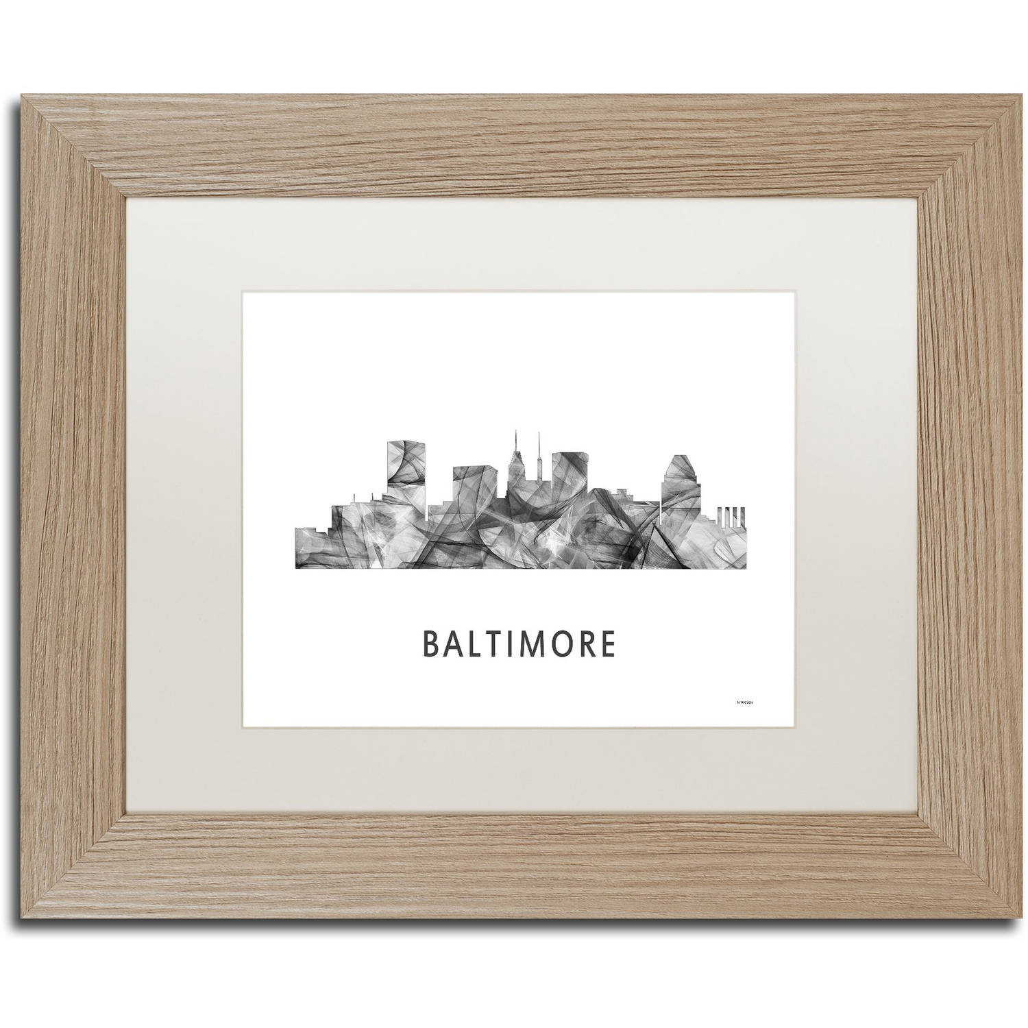 Trademark Fine Art 'Baltimore Maryland Skyline WB-BW' Canvas Art by Marlene Watson, White Matte, Birch Frame