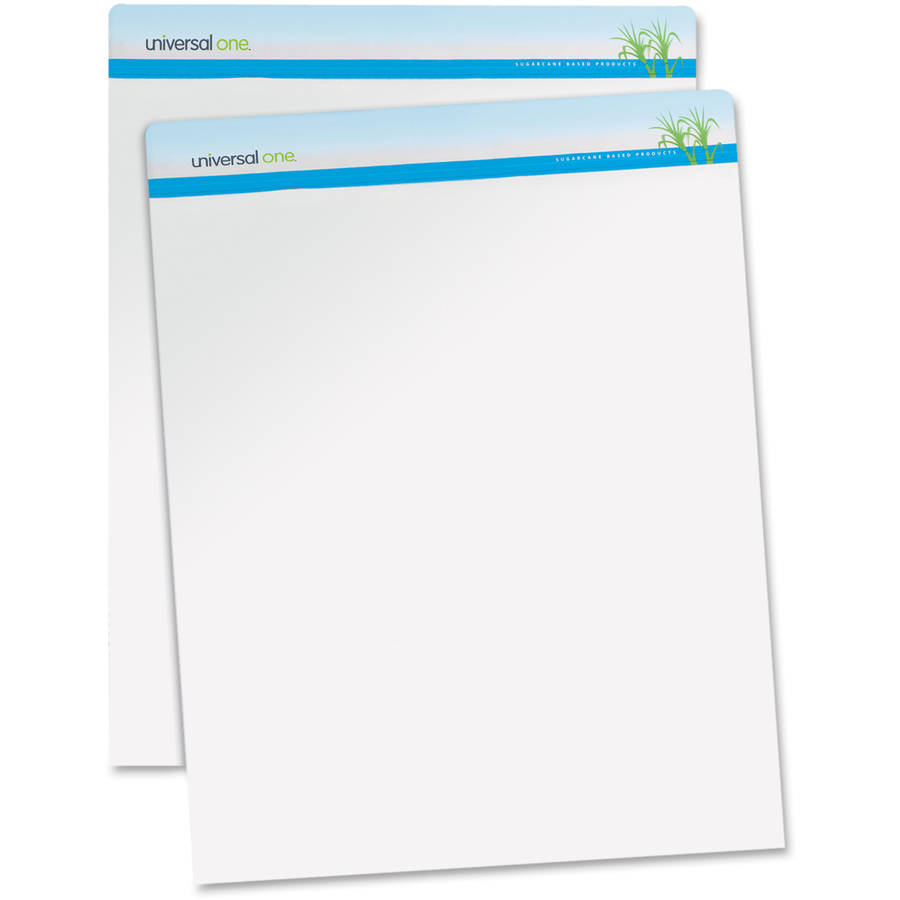 """Universal One Sugarcane Based Easel Pads, Unruled, 27"""" x 34"""", White, 50 Sheets, 2 Pads"""