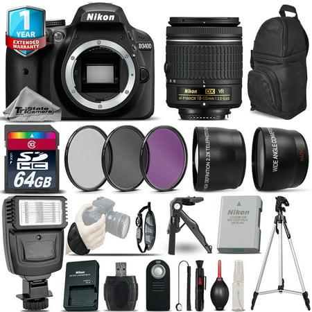 Nikon D3400 DSLR Camera + 18-55mm VR + 1yr Warranty + Filters + 64GB -Saving