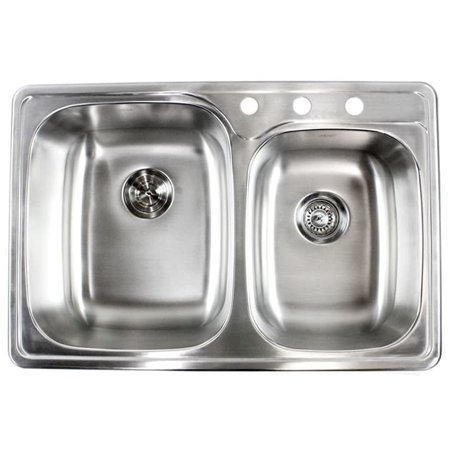 Contempo Living Inc 18-gauge Stainless Steel Double 33-inch Top-Mount/Drop-In 60/40 Bowl Kitchen Sink Bowl Drop In Sink