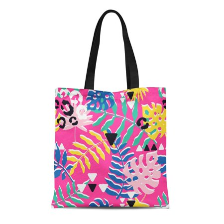 ASHLEIGH Canvas Tote Bag Bright and Colorful Abstract Tropical Leaves Palm Lea Jungle Durable Reusable Shopping Shoulder Grocery Bag](Tropical Lei)