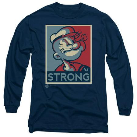 Popeye T-shirt Tee - Popeye The Sailor Man Cartoon Character Strong Adult Long Sleeve T-Shirt