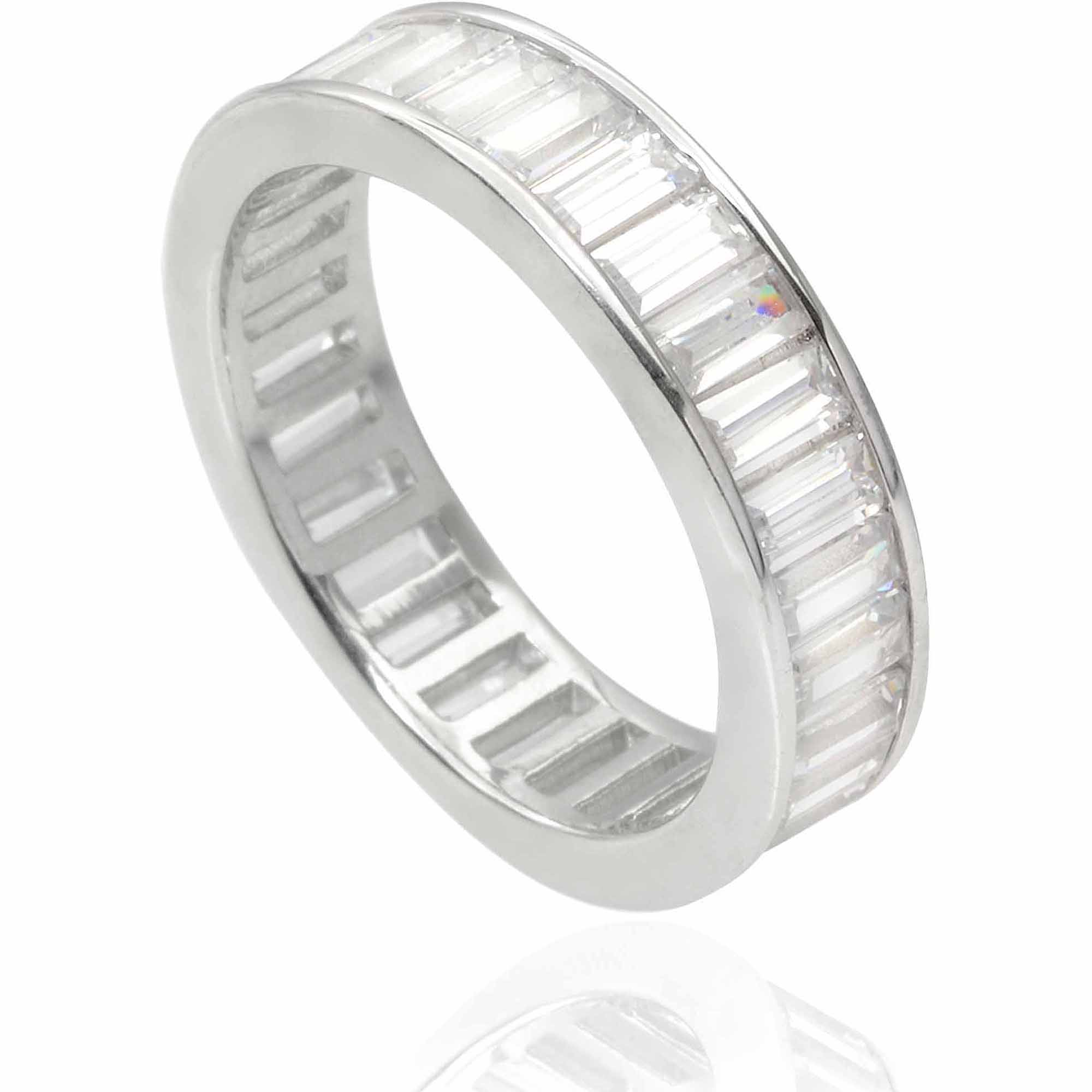 Alexandria Collection Women's CZ Sterling Silver Wedding Band, 5mm