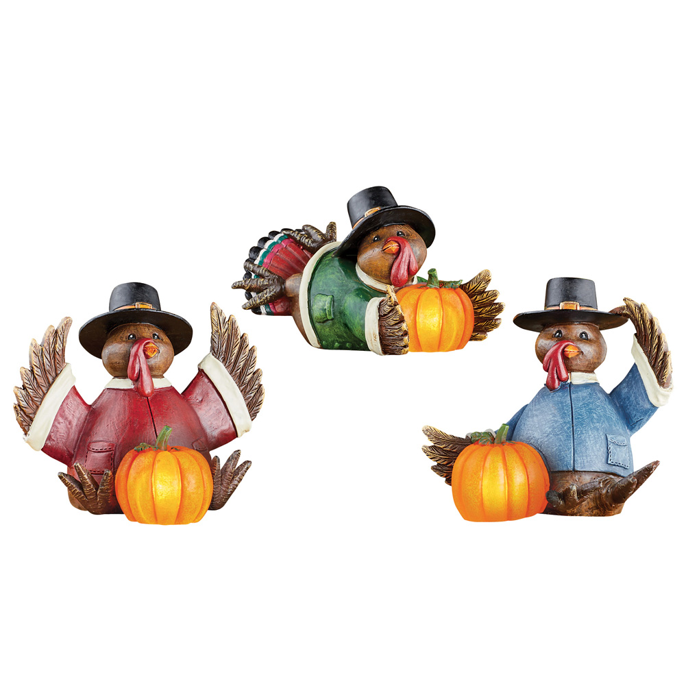 Lighted Turkeys Table Sitters Decoration Set - Fall and Thanksgiving Festive Centerpieces, 3 Pc