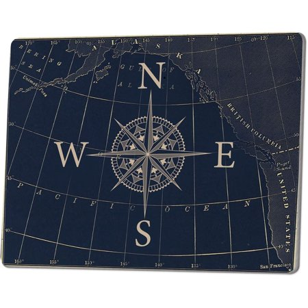 NAUTICAL COMPASS Tempered Glass Cutting Board, 9.75