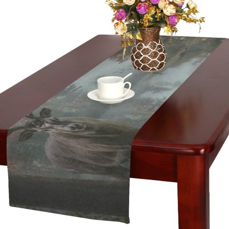 MYPOP Fishermen House on a Lake And Deep Woods Forest Cotton Linen Table Runner 16x72 Inches ()