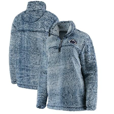 Penn State Nittany Lions Women's Sherpa Super Soft Quarter Zip Pullover Jacket - Navy - Lion Tamer Jacket