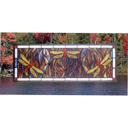 Meyda Tiffany 48091 Stained Glass Tiffany Window from the Prairie Dragonfly Collection