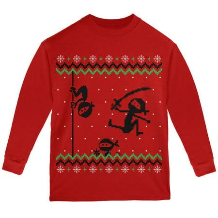 Ninja Ninjas Attack Ugly Christmas Sweater Youth Long Sleeve T Shirt - Ugly Christmas Sweater Girls