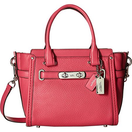 Coach Pebbled Leather Swagger Silver Dahlia Satchel Handbag