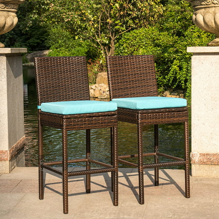 Peachy Sundale Outdoor 2 Pcs Brown Wicker Counter Height Bar Stool With Cushions All Weather Patio Furniture Set Download Free Architecture Designs Scobabritishbridgeorg