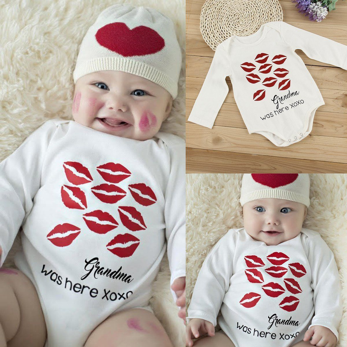 Newborn Baby Bodysuit Cotton Funny Romper Cute Infant Boy Girl Jumpsuit Grandma Was Here (Hat Not Included)
