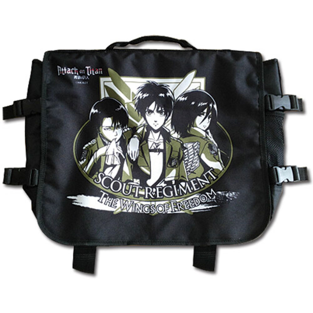 Attack On Titan Eren Mikasa & Levi Anime Messenger Bag