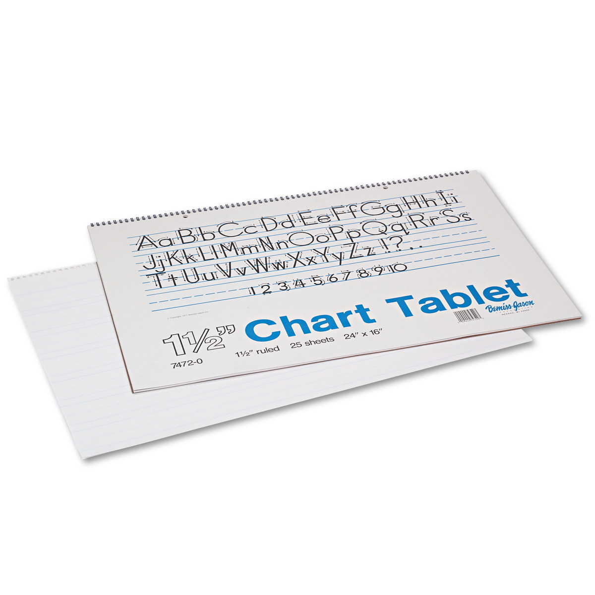 "Pacon Chart Tablet, 1.5"" x 3/4"" x 1/2"" Ruled, 24""x16"", White, 25 Sheet"