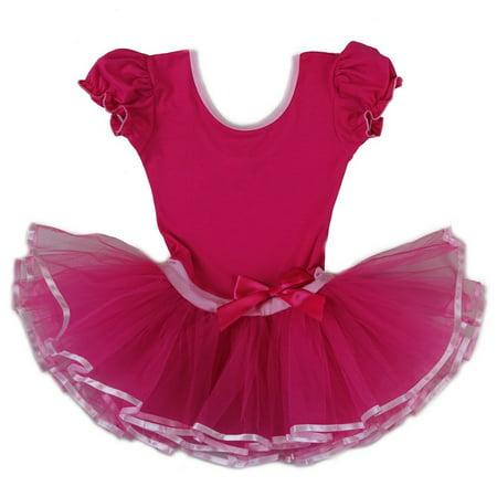 Wenchoice Girls Hot Pink Bow Short Sleeve Ballet Dress - Japanese School Girl Hot
