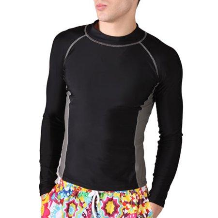 GOGO Men's Wet Suit Rashguard Long Sleeve, Shirt Only-Black/Grey-L (Wet Suit For Men Scuba)