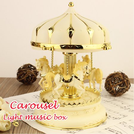 Iuhan New Octave Light Carousel Music Box Christmas Birthday Gift Carousel Music Box Christmas Carousel Music Box
