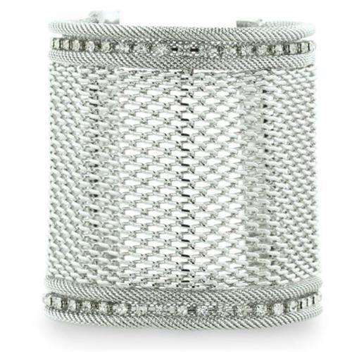 SuperJeweler Wide Silver Tone Mesh Massive 3 inch Cuff Bracelet With A Row Of Fiery Rhinestone Crystals