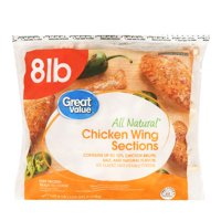 Great Value All Natural Chicken Wing Sections, 8 lb