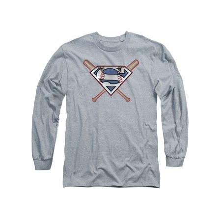 Superman DC Comics Crossed Baseball Bats Adult Long Sleeve T-Shirt Tee for $<!---->