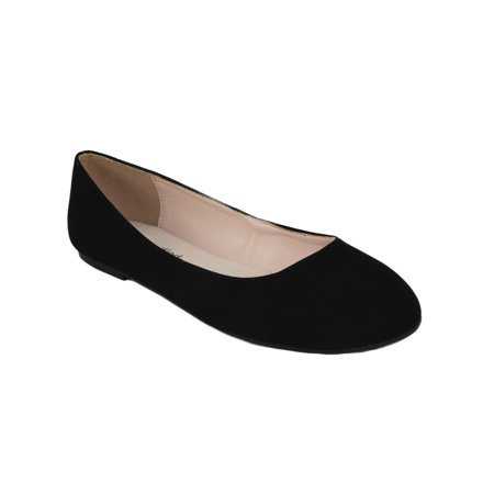 Thesis Formal Shoes Brand City Classified Women Ballet Flats Basic Slip On Round Toe Black Suede Nubuck - Ladies Shoes 1920s