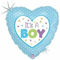 Mayflower 75410 4 in. Baby Boy Dots Flat Foil Balloon
