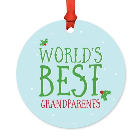 Metal Christmas Ornament, World's Best Grandparents, Holiday Mistletoe, Includes Ribbon and Gift