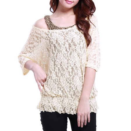 Unique Bargains Womens Summer Pullover Scoop Neck Sleeves Shirt W Tank Top Beige  Size M   8