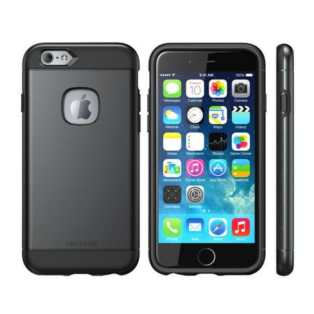 i-Blason Unity Dual Layer Ultra Slim Armored Hybrid Case - Back cover for cell phone - polycarbonate, thermoplastic polyurethane (TPU) - black/black - for Apple iPhone 6 Plus