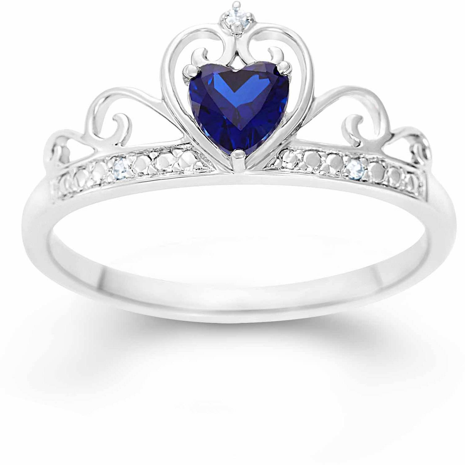 Created Blue Sapphire Heart and White CZ Sterling Silver Crown ...