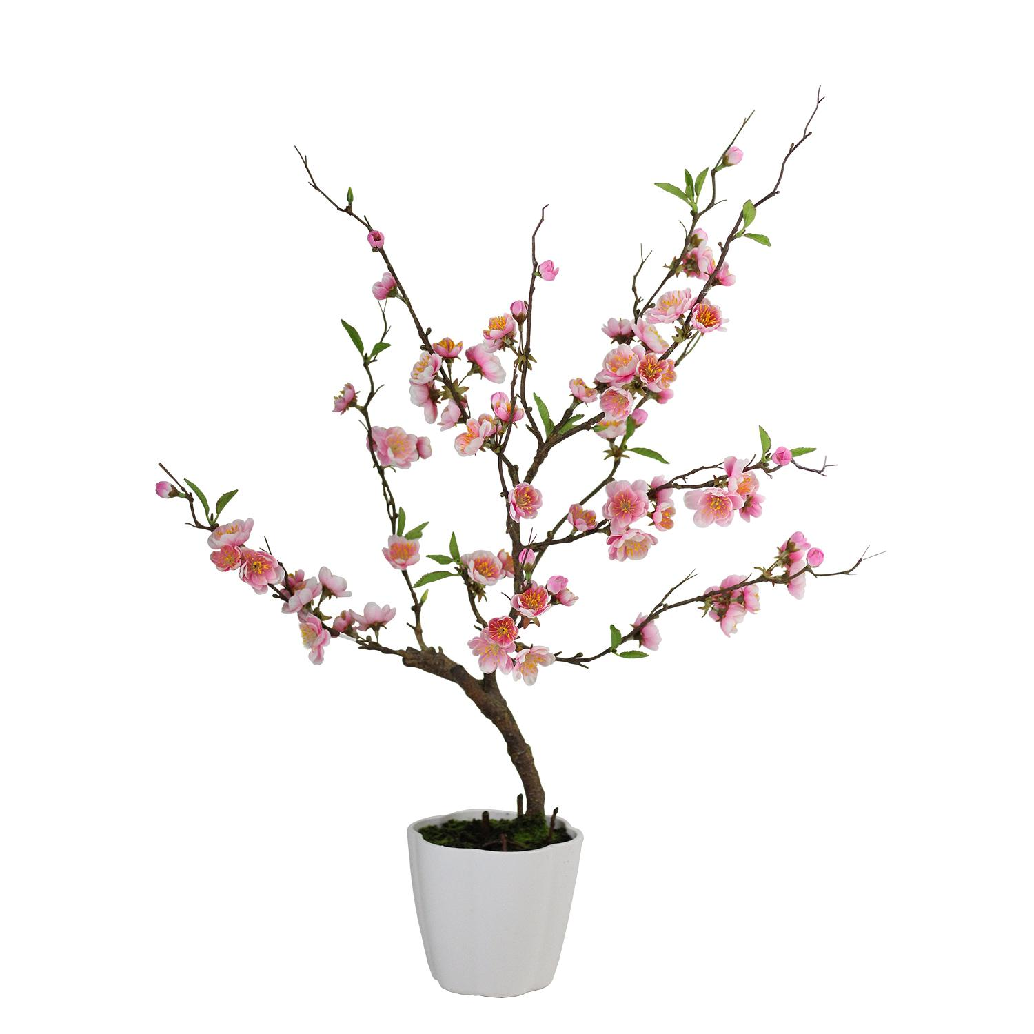 "28"" Pink Artificial Ming Cherry Blossom Tree in a Pot Tab..."