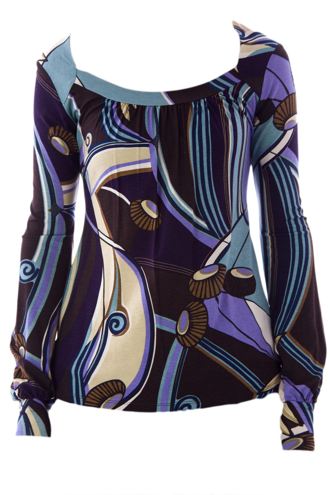 Olian Women's Bishop Sleeve Printed Maternity Top X-Small Multicolor