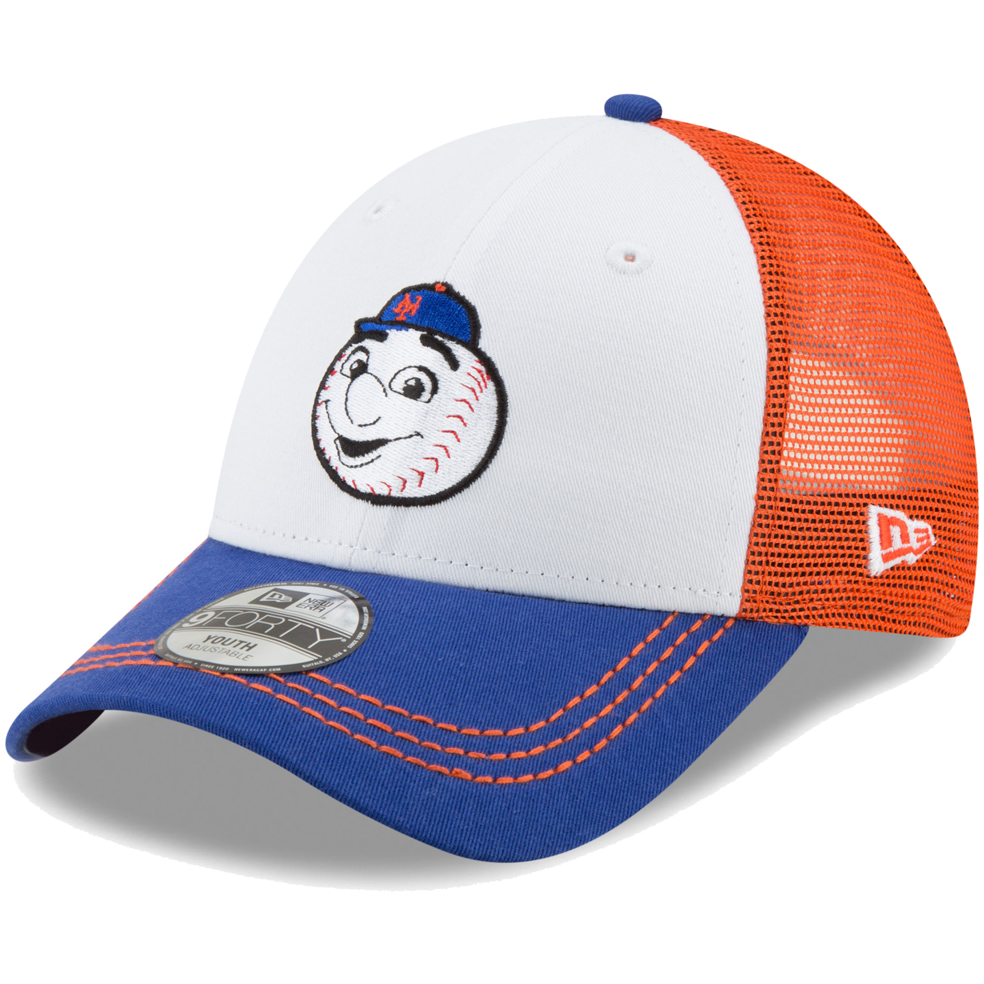 New York Mets New Era Toddler Mascot Muse Trucker 9FORTY Adjustable Hat - White/Royal - OSFA