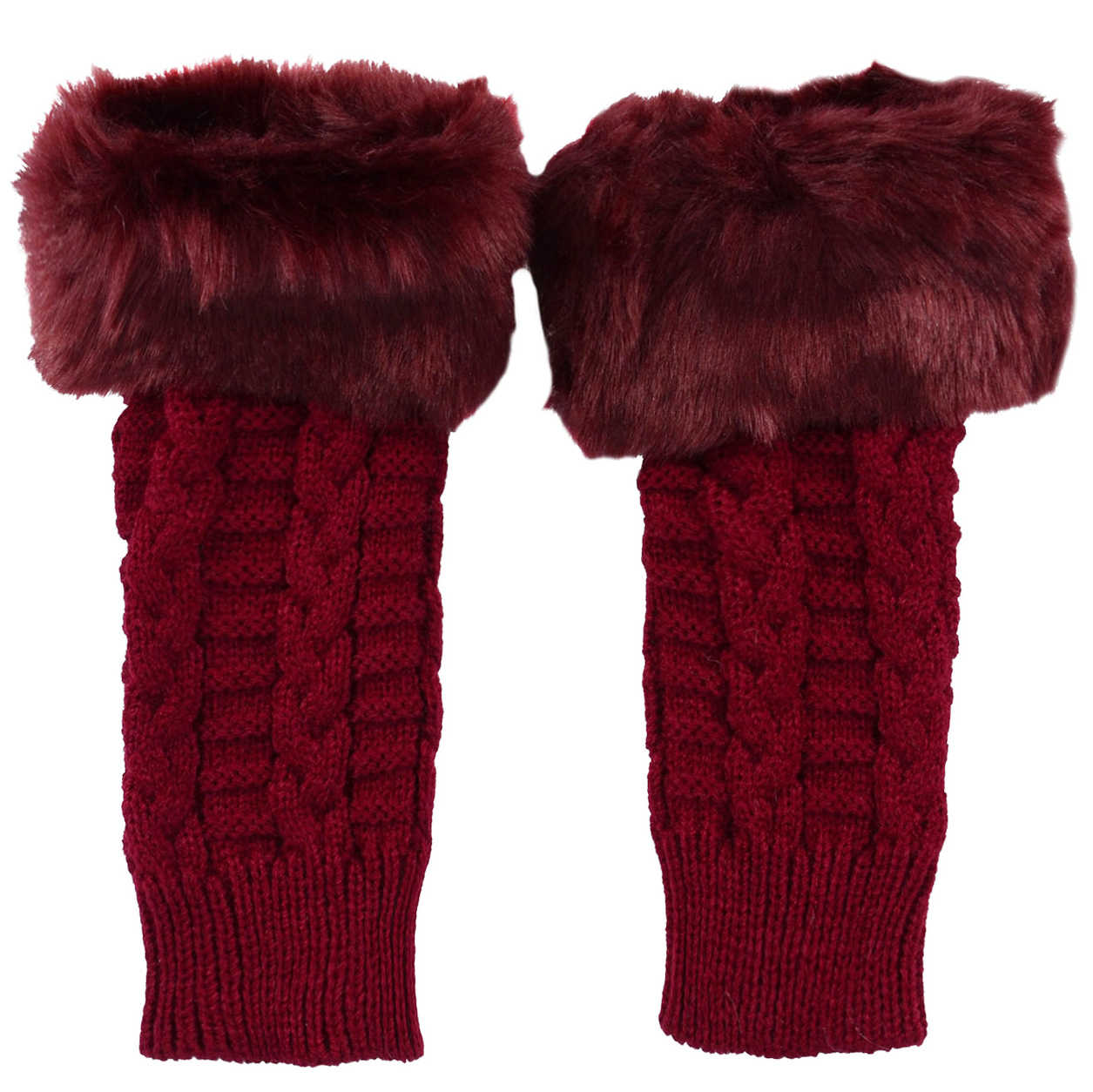 Winter Warmer Women Faux Knitted Hand Wrist Fingerless Gloves, Red