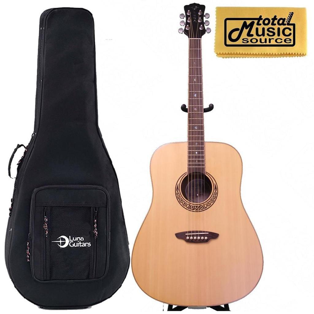 Luna Muse Series Acoustic Guitar w/ FoamCore Case, Satin Finish, MUS DN M SATIN
